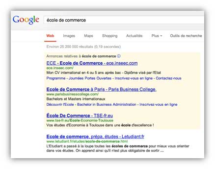 Google : Ecole de commerce